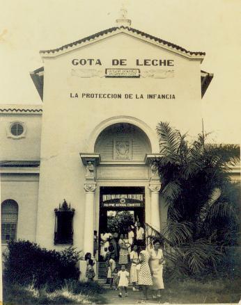 gota facade with children and Lourdes and Natividad Almeda-Lopez circa 1945